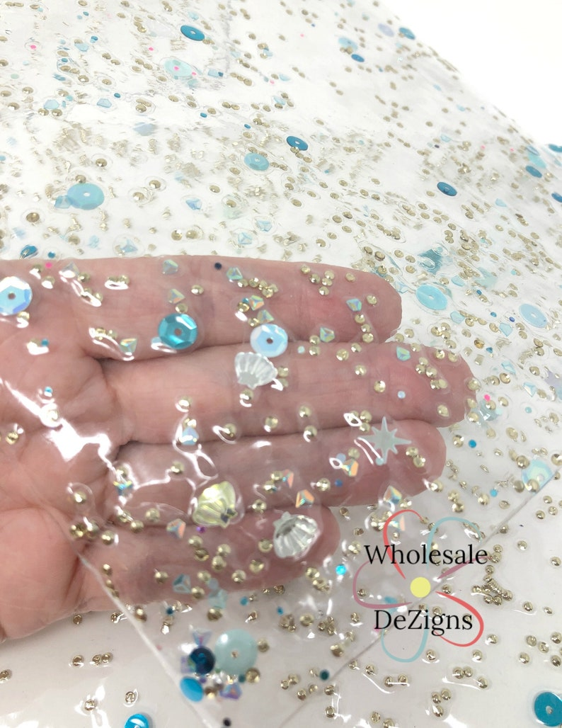 Seashell Transparent Sequin Jelly Sheet Clear Glittery Stars image 0