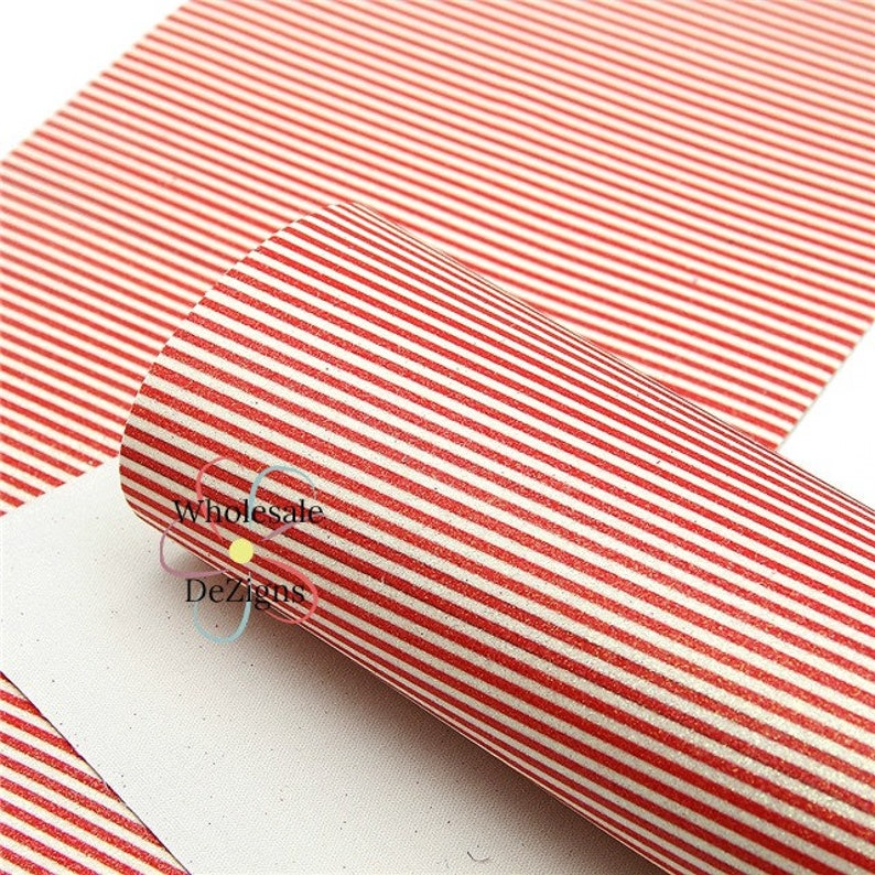Glittery Red and White Striped Faux Leather Sheet Fine Glitter image 0