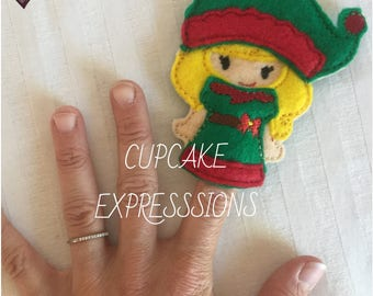 Girl Elf - Finger Puppet, Quiet Time Play Toy - Imaginative Play - christmas, santa's little helper, toy maker North Pole