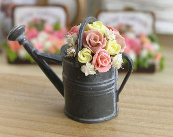 Miniature Dollhouse Roses & Asters Arrangement In The Metal Watering Pot