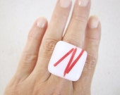 Square Modern Cocktail Ring - Geometric -  White with Red lines Inclusions
