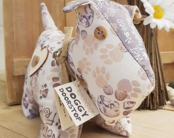 Doggy Doorstop, cream Wet Nosed Friends fabric, heavy weighted dog ornament or door stop, NOT a toy