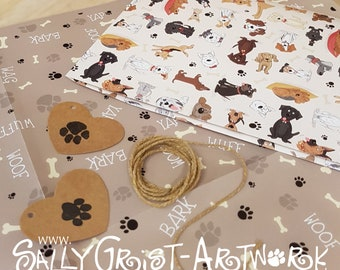 Luxury dog themed gift wrap - Wet Nose Friends wrapping paper with paw print gift tags and jute string