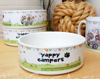 Yappy Campers ceramic bowl - Hippie campervan design bowl, for pet or person!