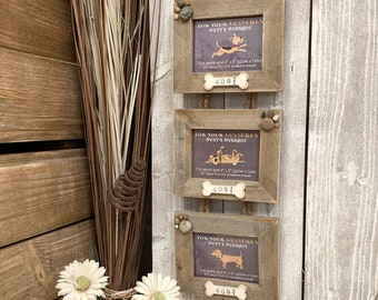Triple hanging picture frame, driftwood, dog themed with bones and paw prints, landscape orientation