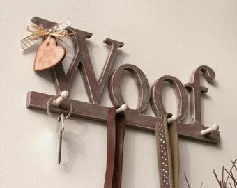 Dog lead hanger WOOF, handmade, shabby chic, gorgeous!