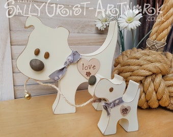 PUPPY LOVE! Pair of wooden doggies, handmade 'square' dogs.