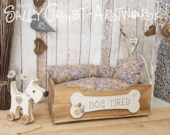 Hand-crafted wooden dog bed, SMALL-MEDIUM - exclooosive to the Wet Nosed Friends range!