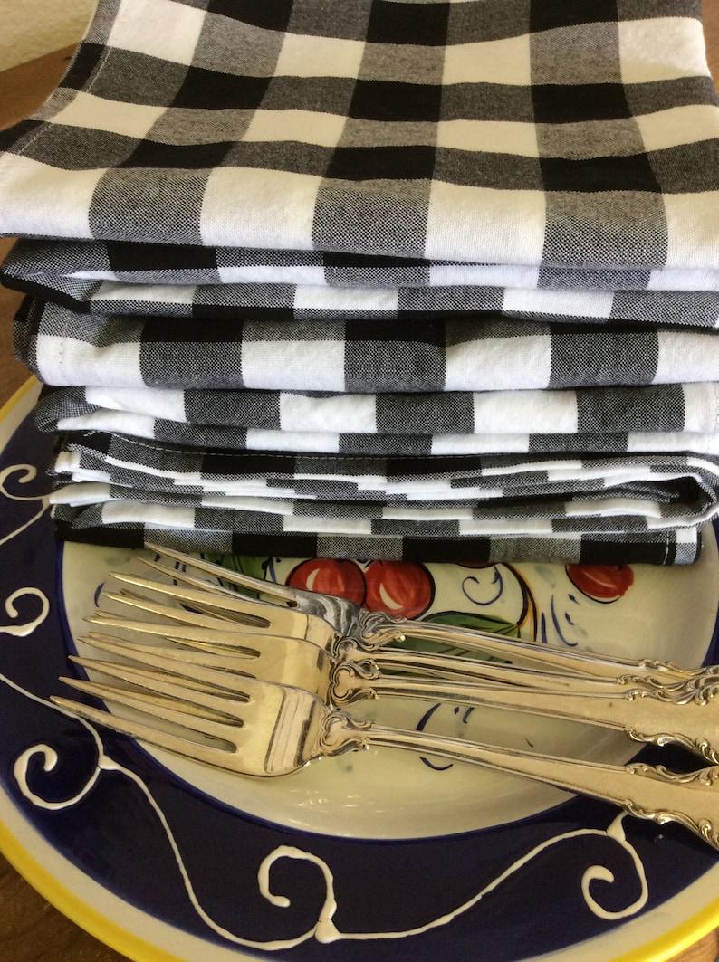 Checkered Napkins Grey//Cream Plaid Dinner Napkins 18x18 Grey Buffalo Checked Napkin Buffalo Check Napkins Buffalo Check Kitchen Napkins Cloth Napkins Set of 6, Cotton Checked Napkins