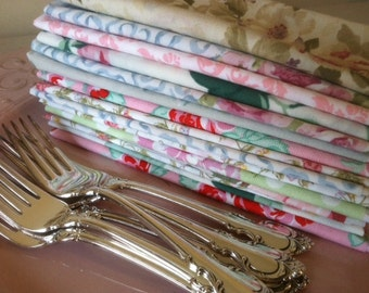 Tea Party - Shabby Chic Cloth Napkins, SET of 10, by CHOW with ME
