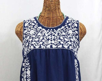 a6cbe928fae4a1 Mexican Peasant Top Blouse Sleeveless Hand Embroidered