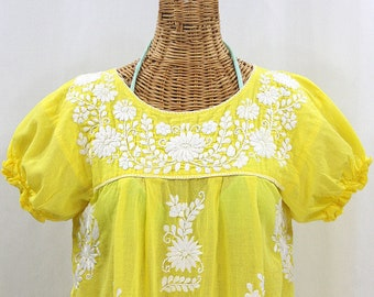 Mexican Peasant Blouse Top Hand Embroidered La Etsy