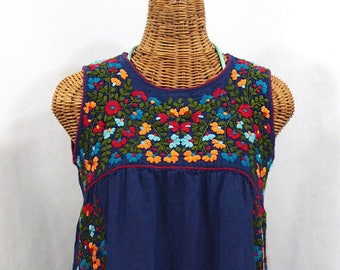 a34e68bd480ef Mexican Peasant Top Blouse Sleeveless Hand Embroidered