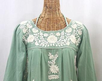 "Long Sleeve Embroidered Blouse Hand Embroidered Top ""La Mariposa Larga"" Sage Green + Cream ~ Size MEDIUM"