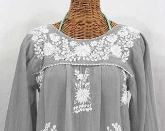 """Long Sleeve Embroidered Blouse Hand Embroidered Top """"La Mariposa Larga"""" Grey + White ~ Size MEDIUM"""