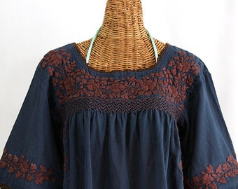 """Embroidered Peasant Blouse: """"La Marina"""" in Navy Blue with Brown Embroidery ~ Size XL"""
