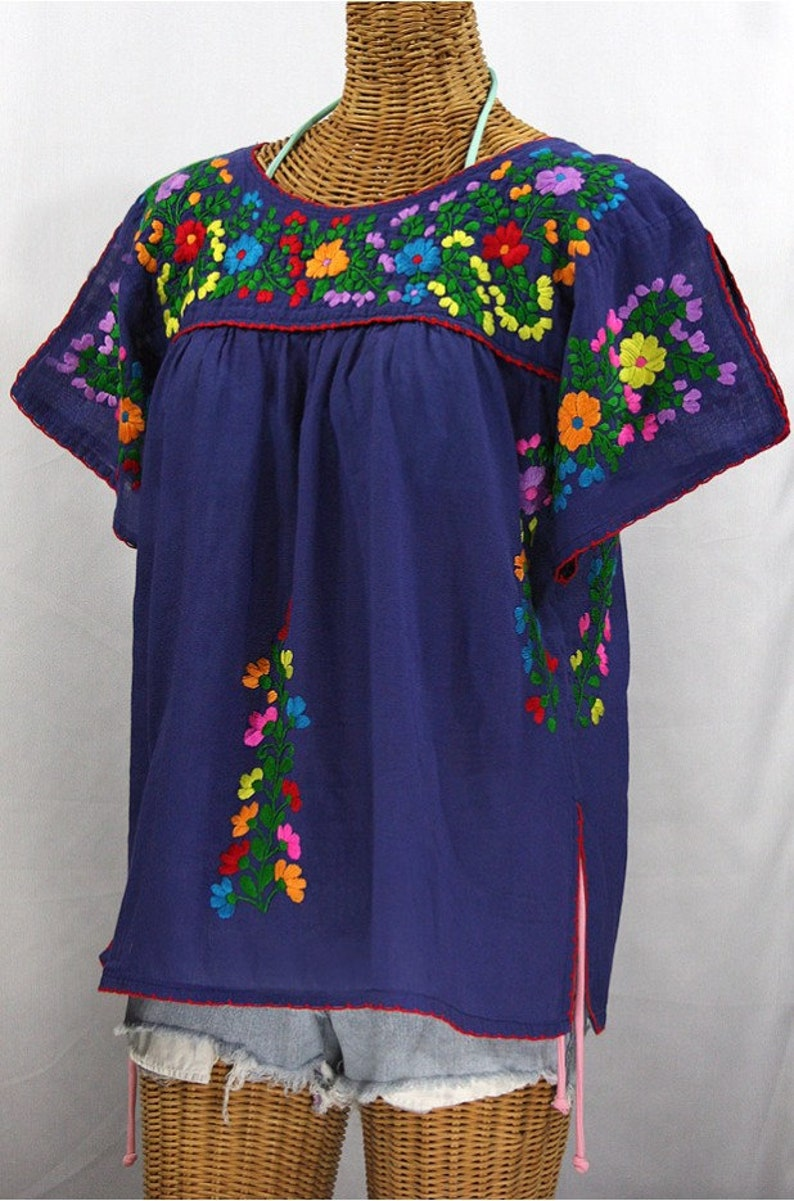Lijera Denim Blue Mexican Peasant Top Blouse Hand Embroidered Multi Color Rainbow Embroidery ~ Size MEDIUM