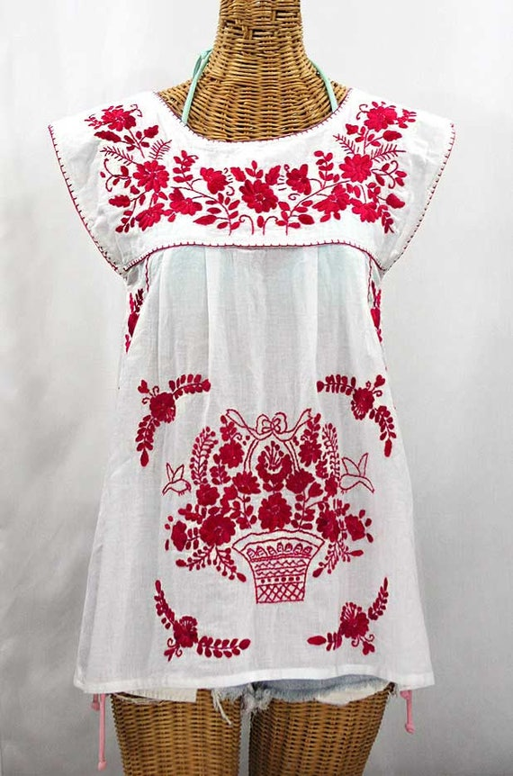embroidered mexican peasant top cap sleeves la etsy