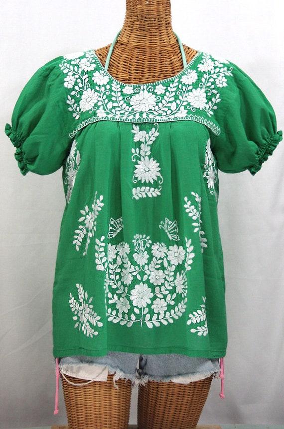 212e08e09a530 Mexican Peasant Blouse Top Hand Embroidered  La