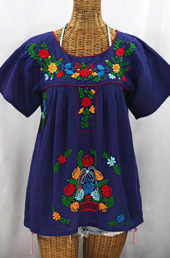 Mexican Peasant Blouse Top Hand Embroidered La Valencia Blue Colorful Embroidery Size Medium