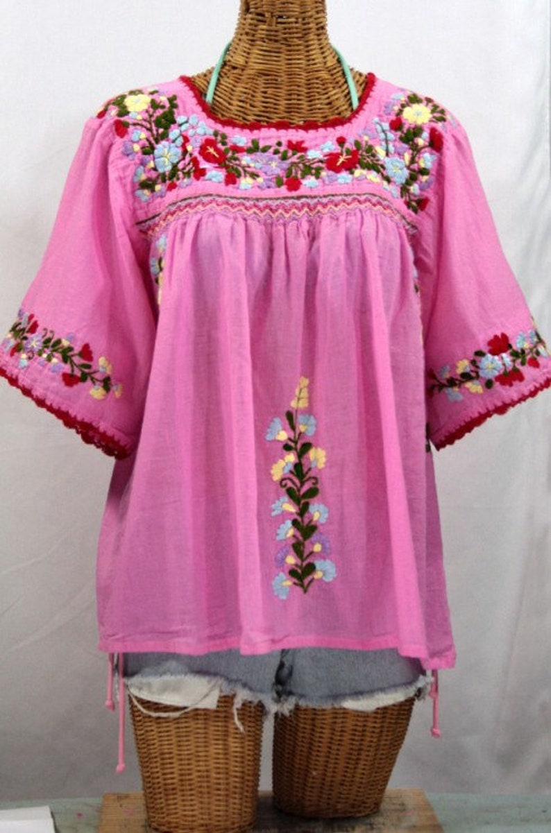 5bae0528b31 Mexican Peasant Blouse Top Hand Embroidered  La