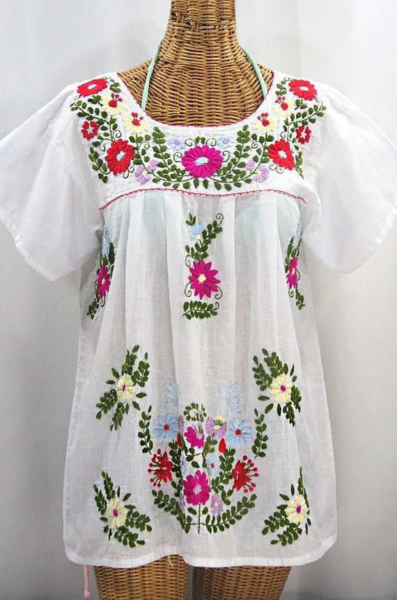XXL Embroidered Mexican Blouse Cream Embroidery Mariposa Libre by Siren in Periwinkle