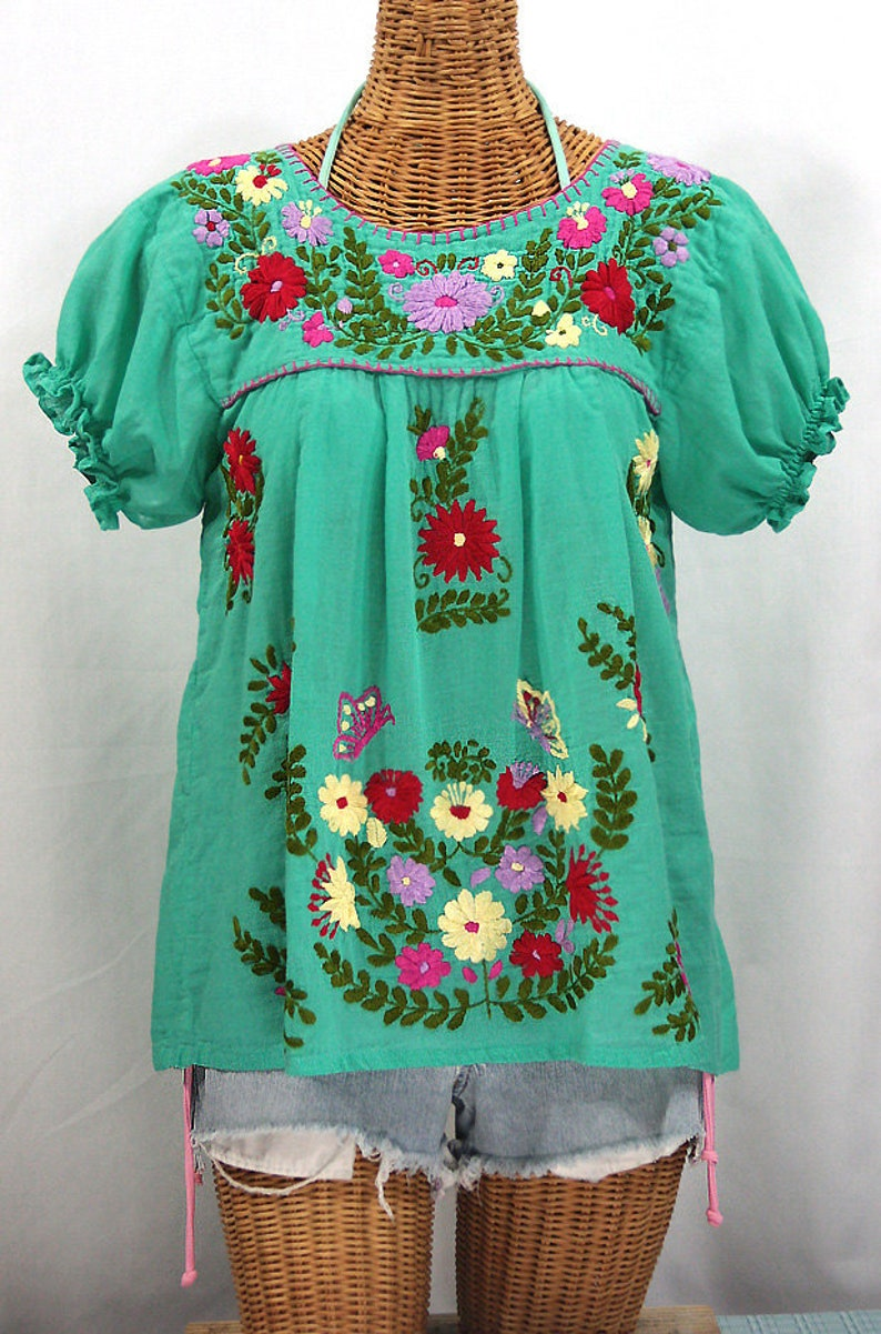 53c32732bd0 Mexican Peasant Blouse Top Hand Embroidered