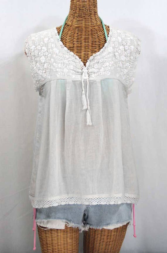 738e1291fc7ae6 Embroidered Mexican Blouse Sleeveless  La Marbrisa