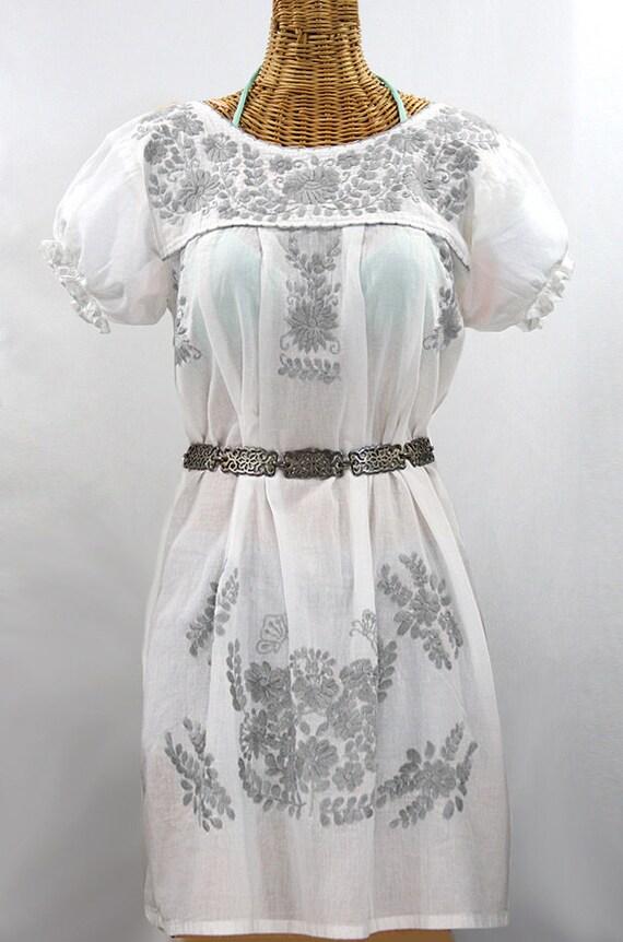 9ea10b76c3f0a Mexican Peasant Dress Hand Embroidered Mini Dress  La