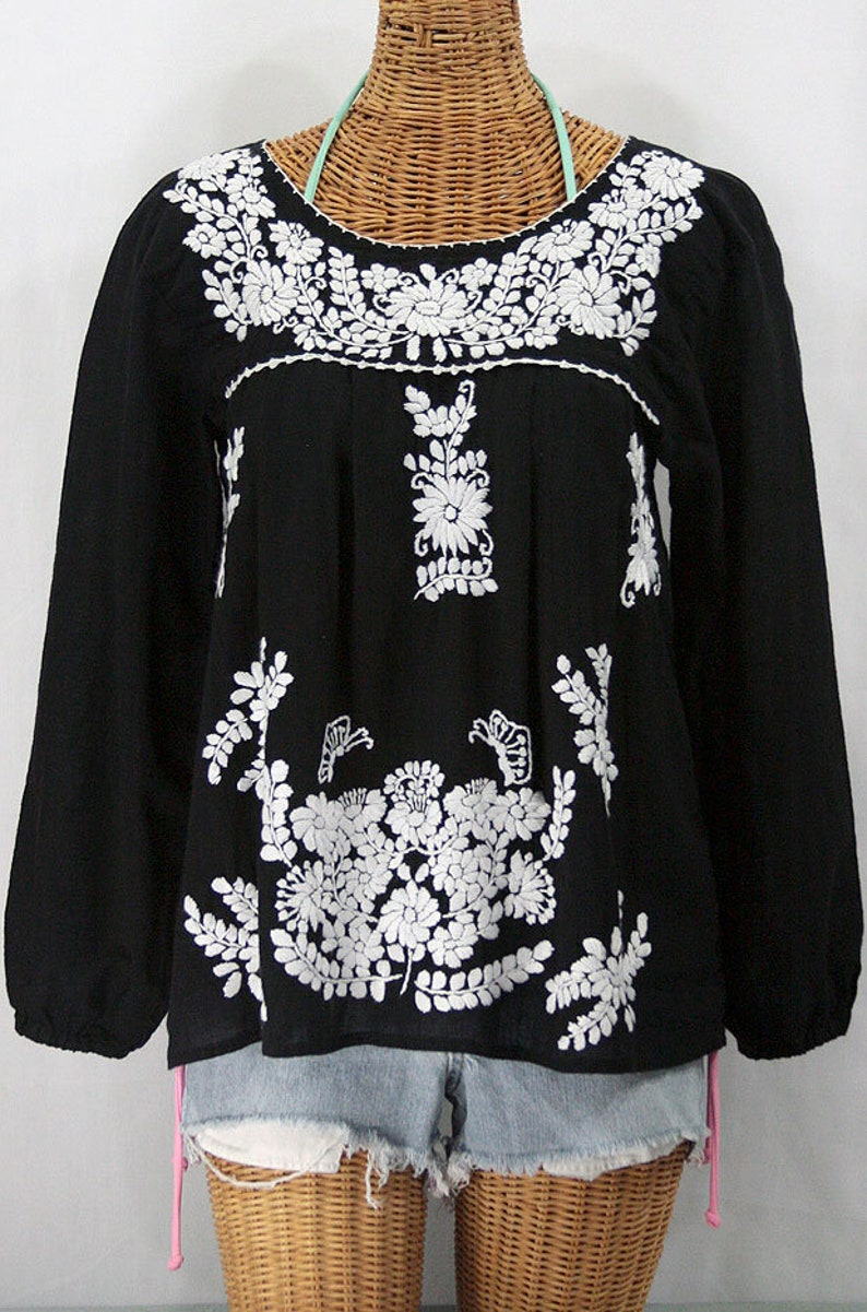 ff8249f043e245 Long Sleeve Mexican Peasant Blouse Top Hand Embroidered
