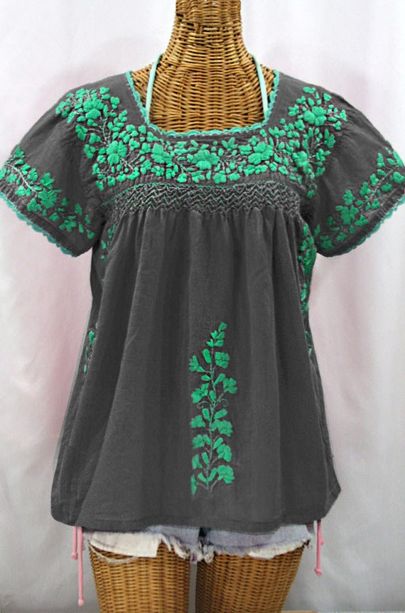 4017cabce545af Embroidered Peasant Blouse  La Marina Corta in