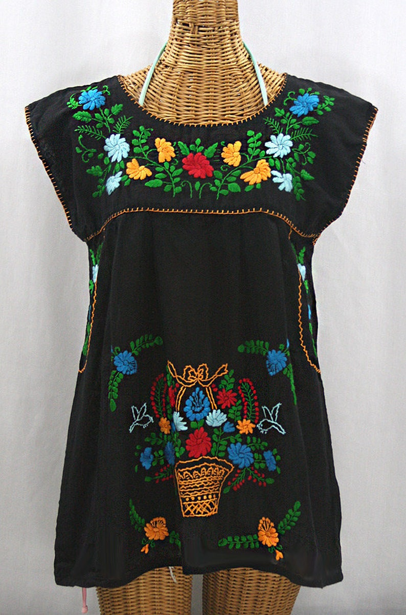 4460c43a7ce27e Embroidered Mexican Peasant Top Cap Sleeves  La