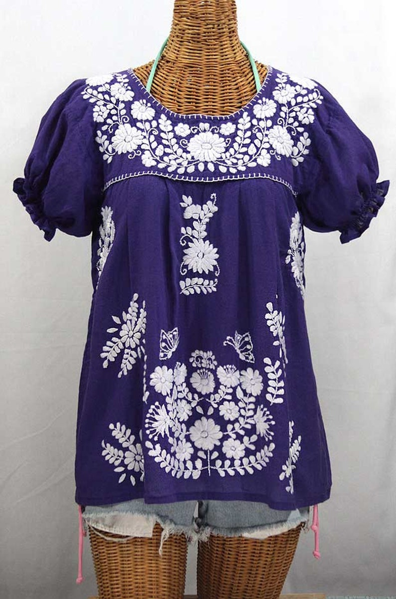 3889be8929b Mexican Peasant Blouse Top Hand Embroidered
