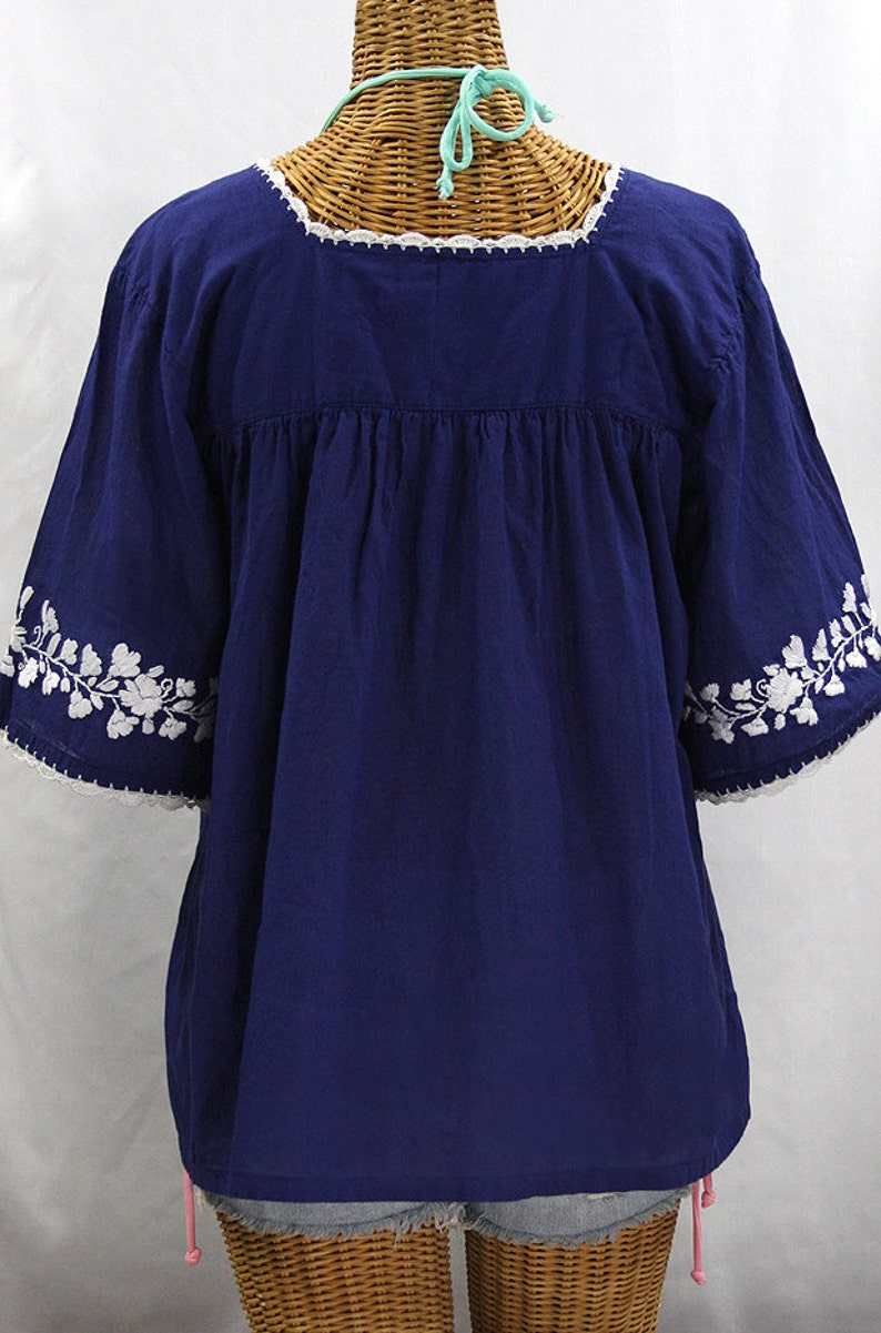 La Marina in Blue with White Embroidery ~ Size SMALL Mexican Blouse