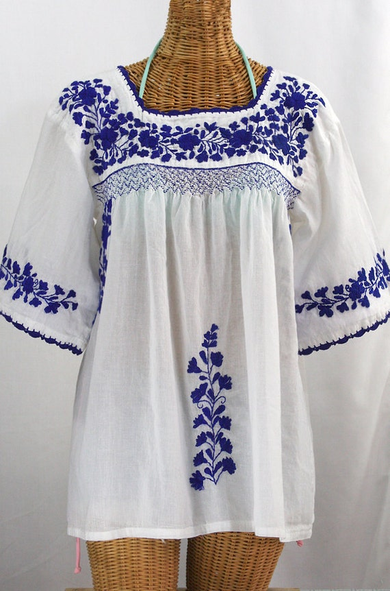 embroidered mexican blouse la marina in white etsy