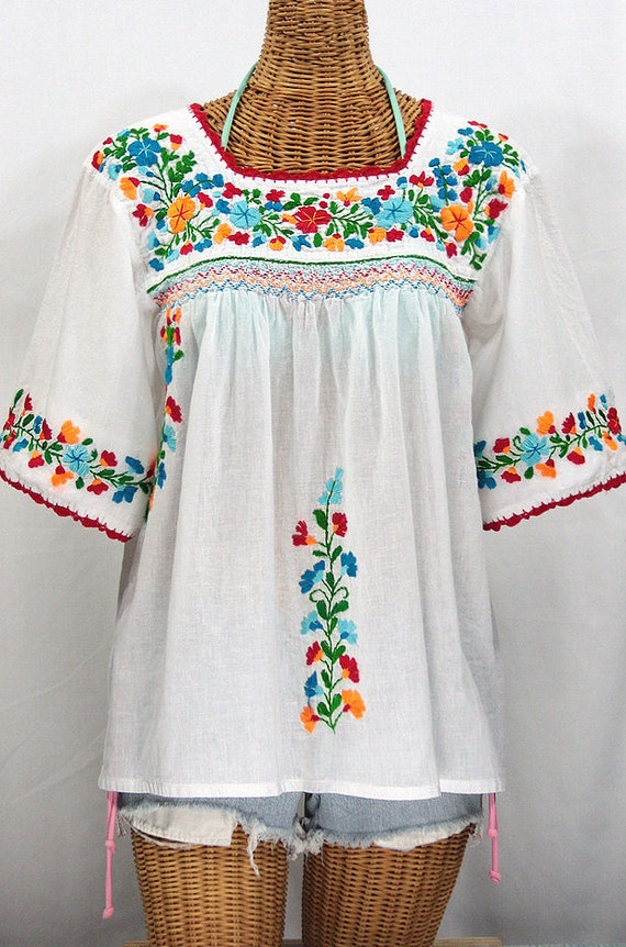 6f51aaf337c499 Mexican Peasant Blouse Top Hand Embroidered  La