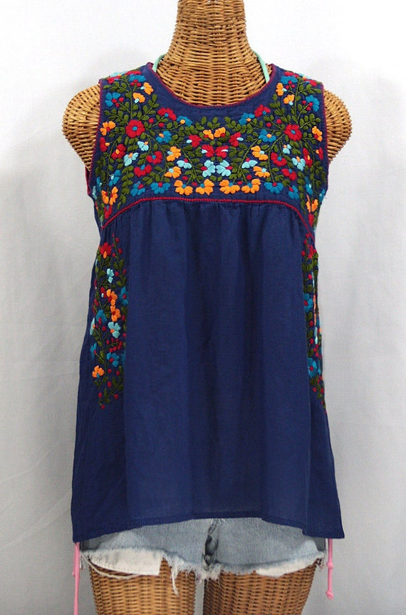 8d409a468aa Mexican Peasant Top Blouse Sleeveless Hand Embroidered