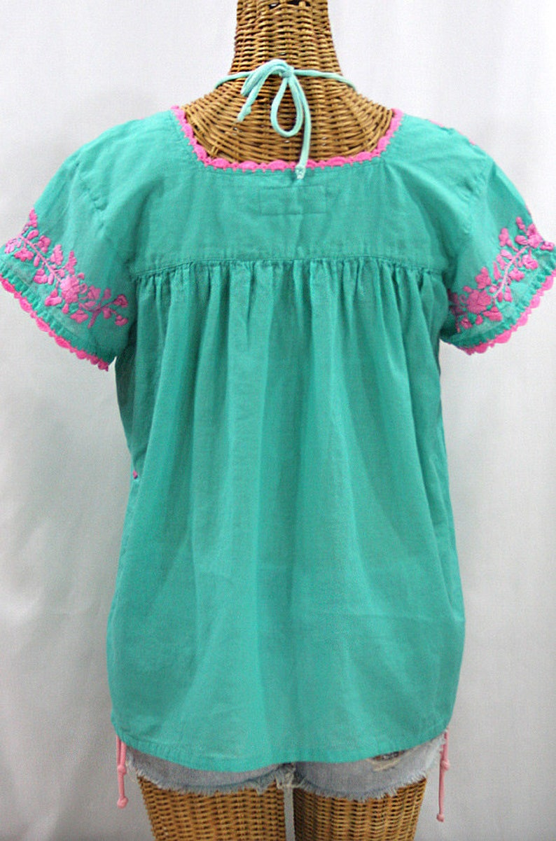 Embroidered Peasant Blouse La Marina Corta in Mint Green with Pink Embroidery ~ Size MEDIUM