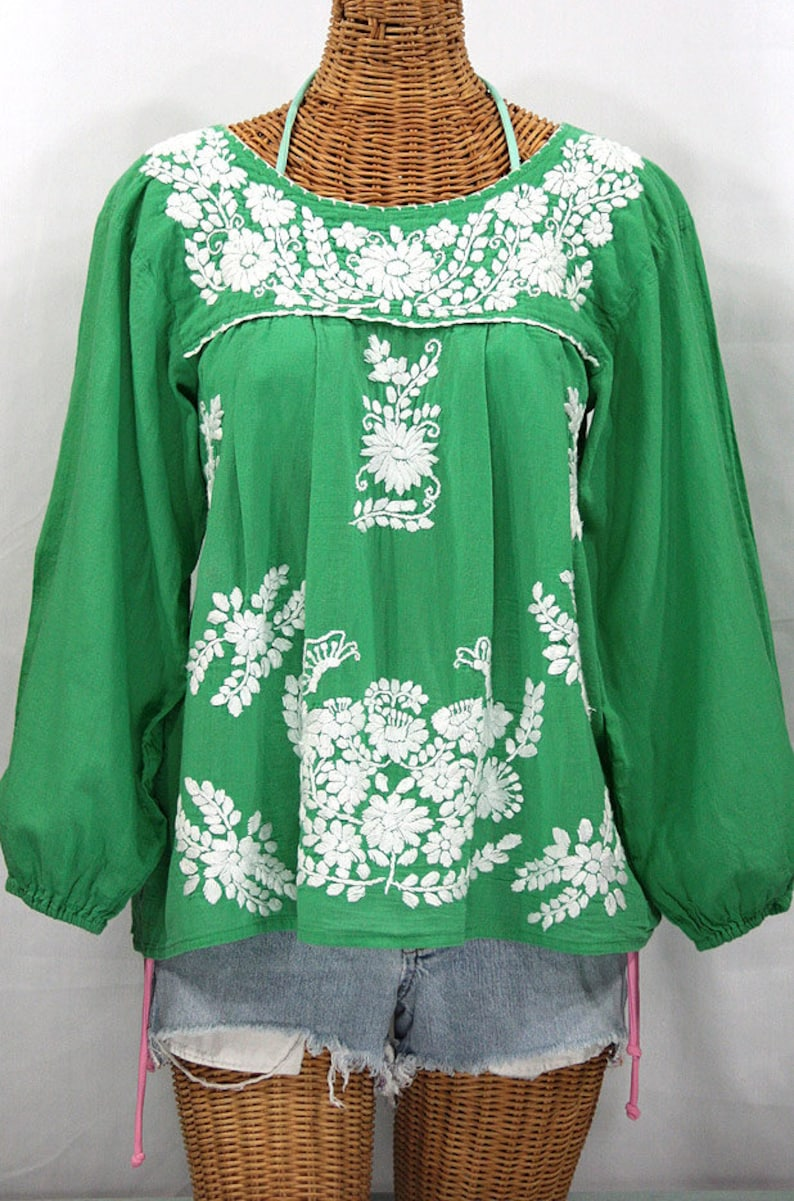 973a5ba4374023 Long Sleeve Mexican Peasant Blouse Top Hand Embroidered: | Etsy