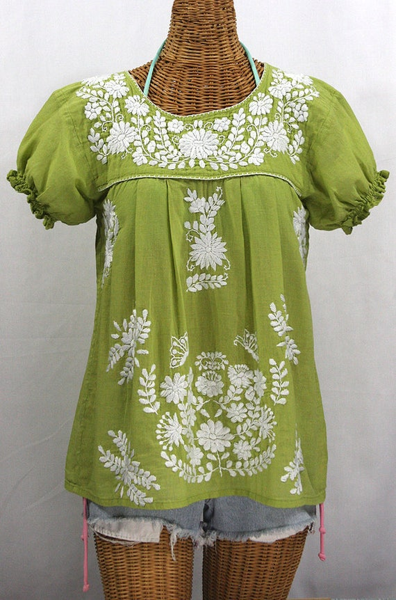 4eadc5a74f3 Mexican Peasant Blouse Top Hand Embroidered