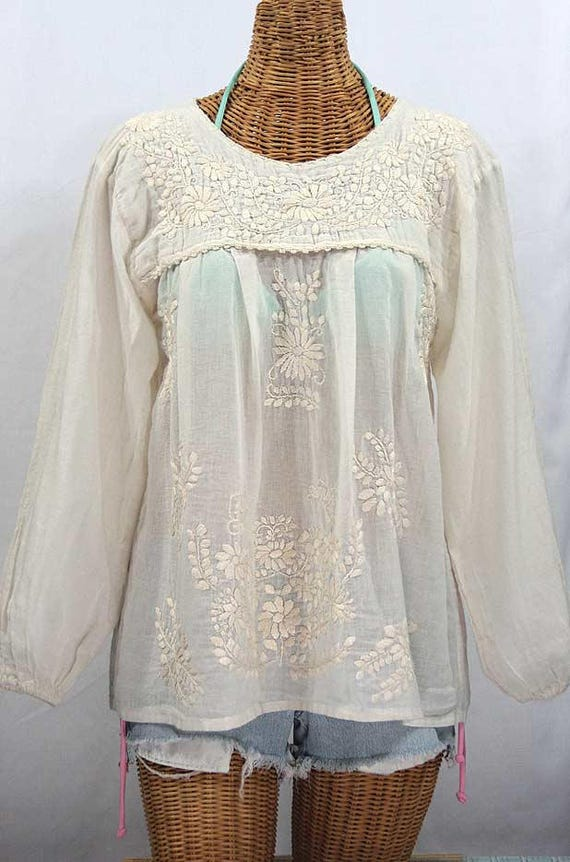 ab502a5ec5cc4 Long Sleeve Mexican Peasant Blouse Top Hand Embroidered