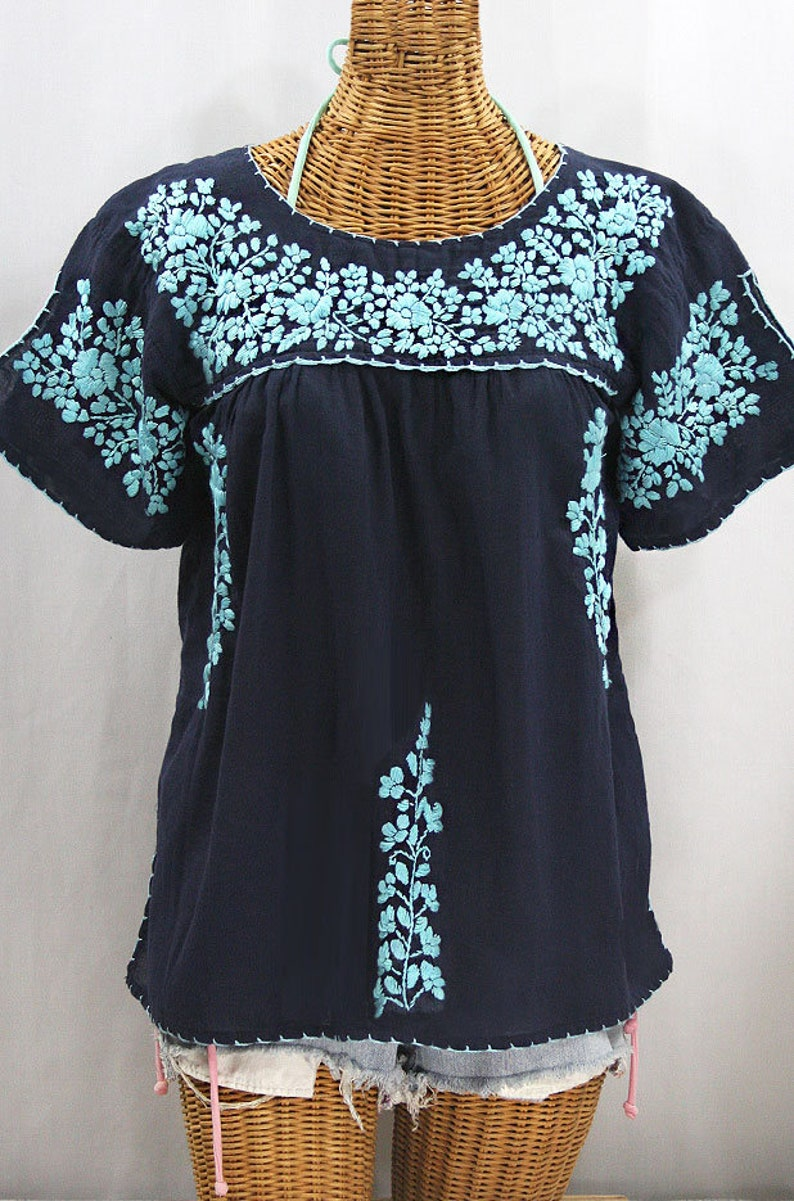8d393be92bc589 Mexican Peasant Top Blouse Hand Embroidered