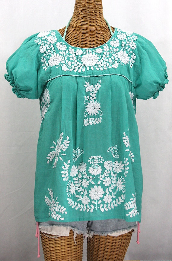 Mexican Peasant Blouse Top Hand Embroidered La Mariposa Mint Green With White Embroidery Size Small