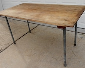 Antique Table Industrial Solid Wood Shop Table Removable Iron Legs Home Office Desk Work Craft Table Kitchen Island Dining Kitchen Table