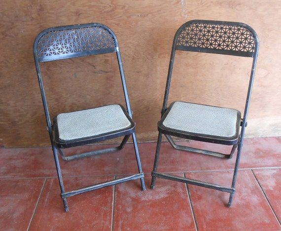 Wondrous Vintage Sturdy Metal Folding Childrens Chairs Pair Kids Chairs Indoor Outdoor Fold Up Seating Child Bedroom Desk Playroom Chairs Industrial Caraccident5 Cool Chair Designs And Ideas Caraccident5Info