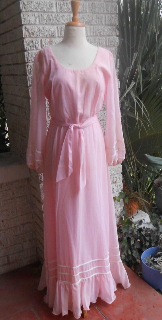 Beautiful Pastel Pink Long Flowing Dress Hippie Ch