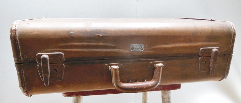 Antique Suitcase Brown Tan Hard Shell Lugggage