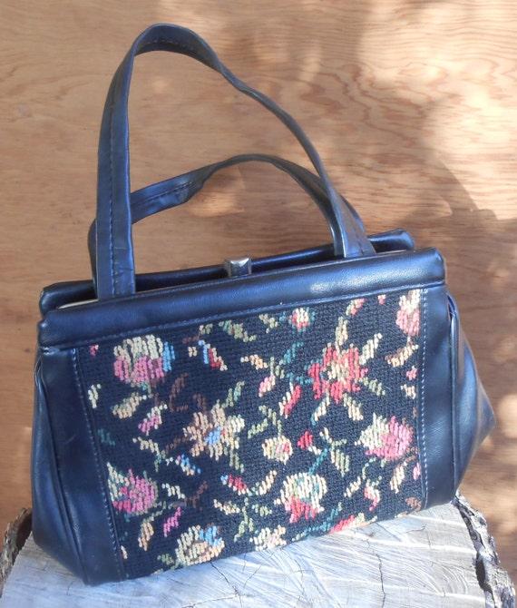 Vintage Tapestry Black Floral Needlework Purse Ca… - image 5