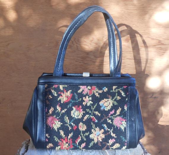 Vintage Tapestry Black Floral Needlework Purse Ca… - image 1