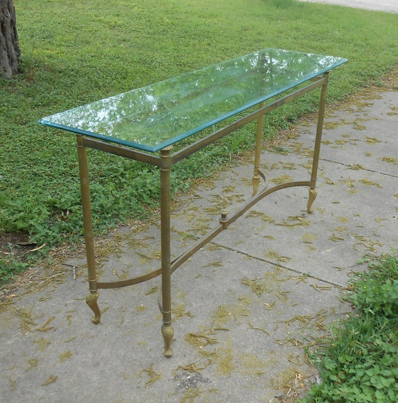Vintage Brass Glass Sofa Table Console Table Entryway Table Etsy